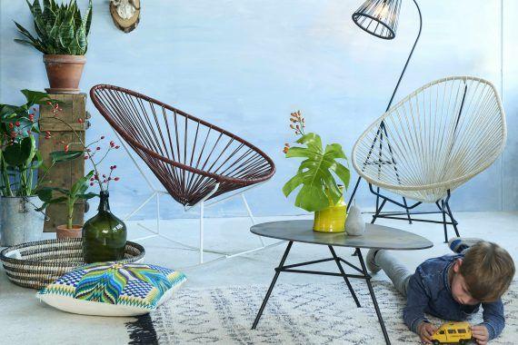 Acapulco schommelstoel leder wit frame