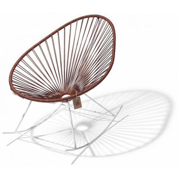 Acapulco schommelstoel leder, wit frame