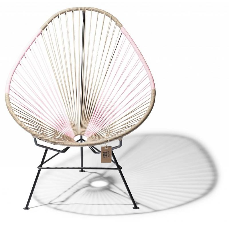 Acapulco chair bicolor beige and pink